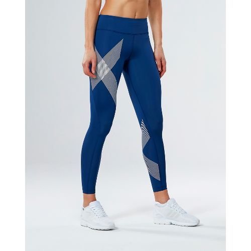 Womens 2XU Mid-Rise Compression Tights - Blue/Striped White XL