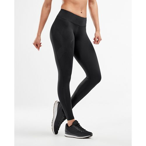 Womens 2XU Mid-Rise Compression Full Length Tights - Black/Dotted Black XL-R