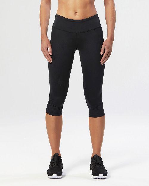 Womens 2XU Mid-Rise Compression 3/4 Capris Tights - Black/Dotted Black L