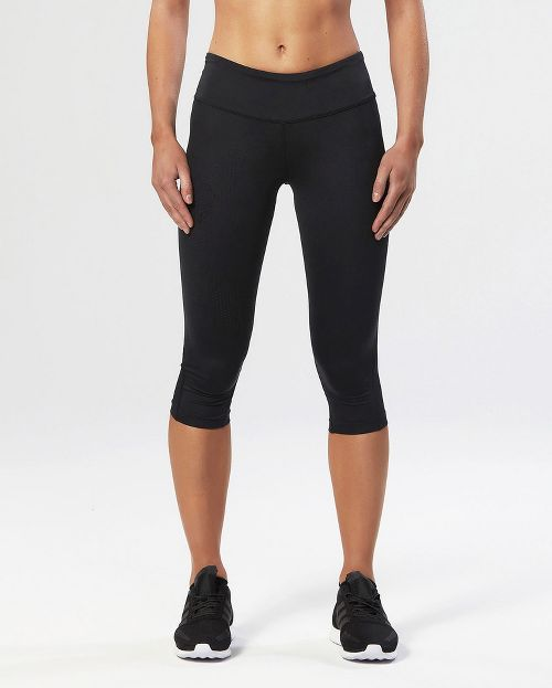 Womens 2XU Mid-Rise Compression 3/4 Capris Tights - Black/Dotted Black XL