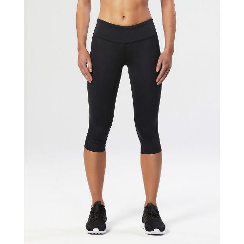 Womens 2XU Mid-Rise Compression 3/4 Capris Tights - Black/Dotted Black M