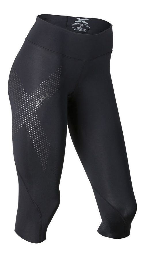 Womens 2XU Mid-Rise Compression 3/4 Capris Tights - Black/Dotted S