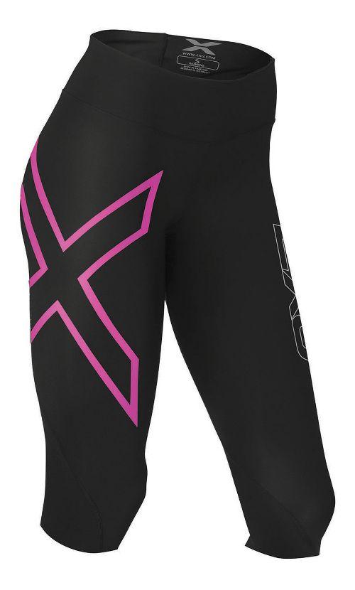 Womens 2XU Mid-Rise Compression 3/4 Capris Tights - Black/Cerise S
