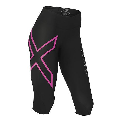 Womens 2XU Mid-Rise Compression 3/4 Capris Tights - Black/Cerise L
