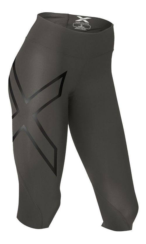 Womens 2XU Mid-Rise Compression 3/4 Capris Tights - Steel/Black M