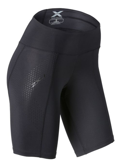 Womens 2XU Mid-Rise Compression Unlined Shorts - Black/Dotted Black XS