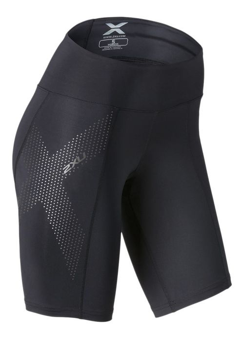 Womens 2XU Mid-Rise Compression Unlined Shorts - Black/Dotted XS