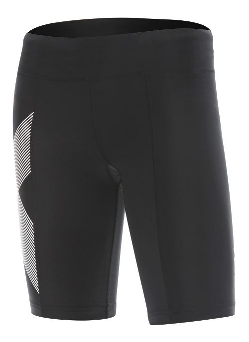 Womens 2XU Mid-Rise Compression Unlined Shorts - Black/Cerise Pink S