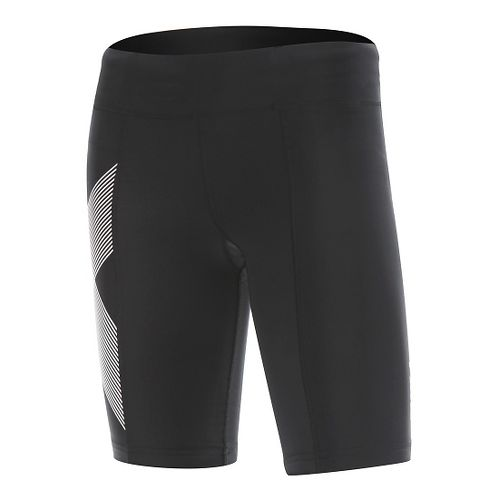 Womens 2XU Mid-Rise Compression Unlined Shorts - Black/Striped White XS