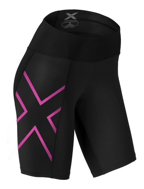 Womens 2XU Mid-Rise Compression Unlined Shorts - Black/Striped Pink XS