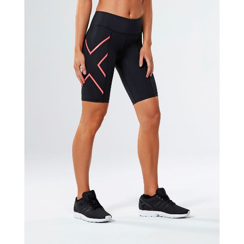 Womens 2XU Mid-Rise Compression Unlined Shorts - Black/Fiery Coral XS