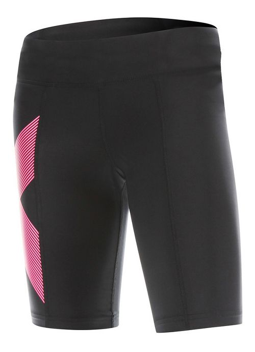 Womens 2XU Mid-Rise Compression Unlined Shorts - Black/Striped Pink L
