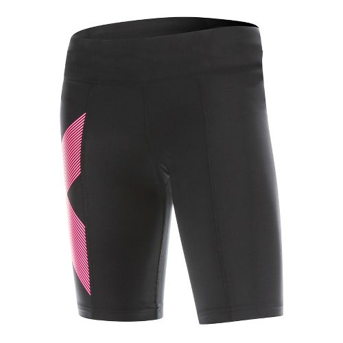 Womens 2XU Mid-Rise Compression Unlined Shorts - Black/Striped Pink S