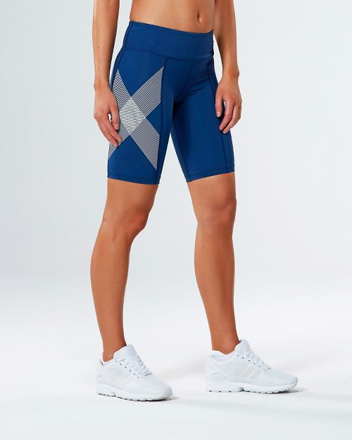 Womens 2XU Mid-Rise Compression Unlined Shorts - Blue/Striped White M