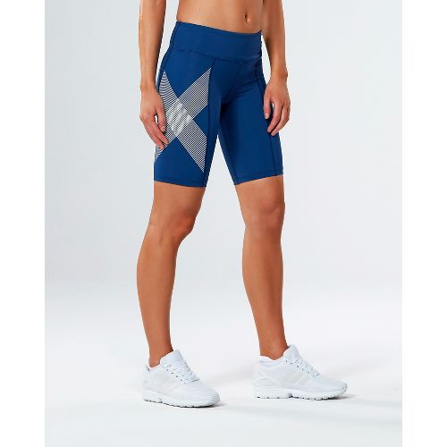 Womens 2XU Mid-Rise Compression Unlined Shorts - Blue/Striped White XXL