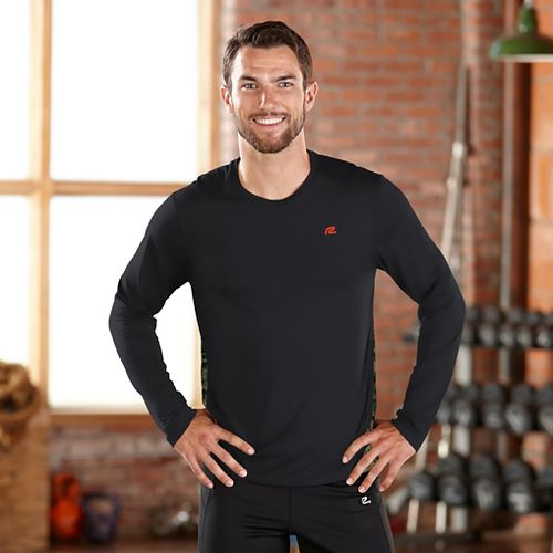 Mens Road Runner Sports Fast Track Long Sleeve No Zip Technical Tops - Black M ...