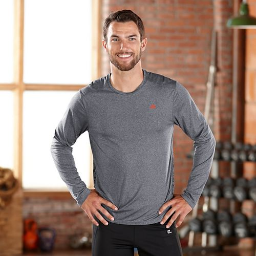 Mens Road Runner Sports Fast Track Long Sleeve No Zip Technical Tops - Heather Charcoal M