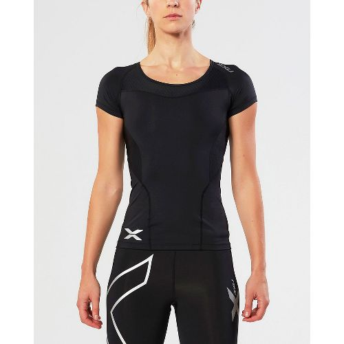 Womens 2XU Compression Short Sleeve Technical Tops - Black/Black XL
