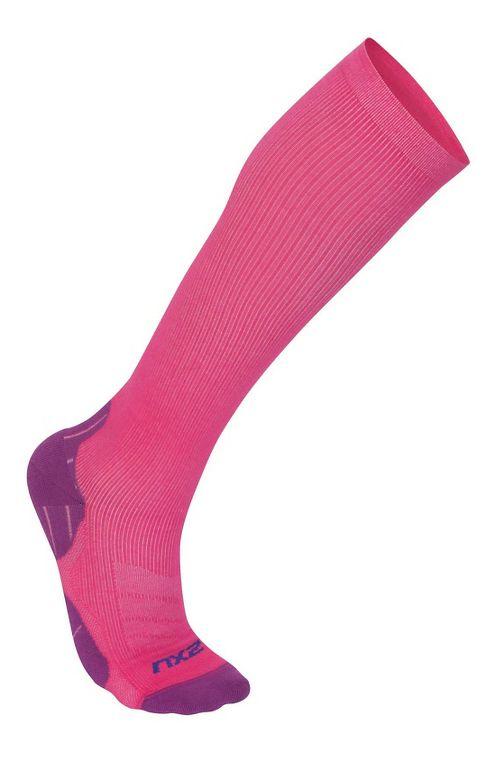 Womens 2XU 24/7 Compression Sock Injury Recovery - Hot Pink/Purple L