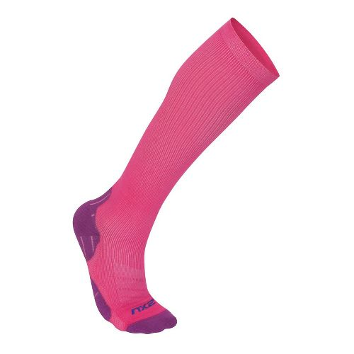 Womens 2XU 24/7 Compression Sock Injury Recovery - Hot Pink/Purple L