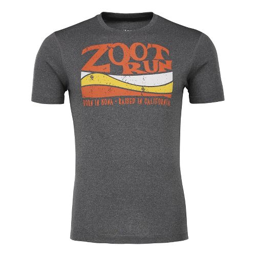 Mens Zoot Run Surfside Graphic Tee Short Sleeve Technical Tops - Black Heather/Solar M