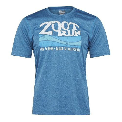 Mens Zoot Run Surfside Graphic Tee Short Sleeve Technical Tops - Blutonium Heather S