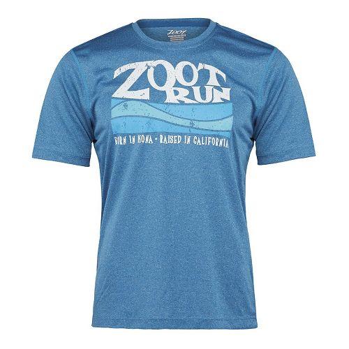 Mens Zoot Run Surfside Graphic Tee Short Sleeve Technical Tops - Blutonium Heather XL