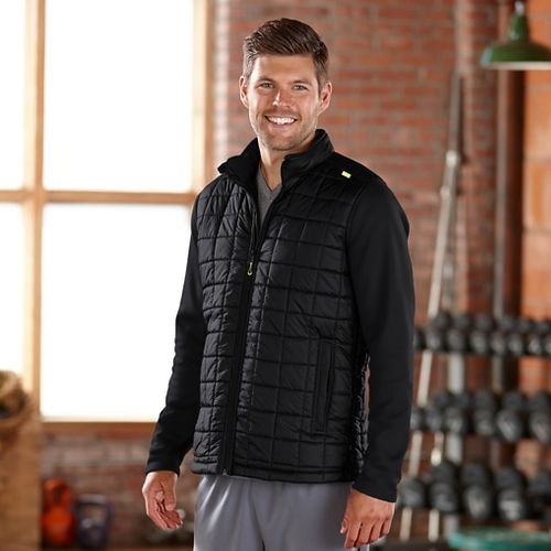 Mens Road Runner Sports Polar Defense Quilted Outerwear Jackets - Black XXL