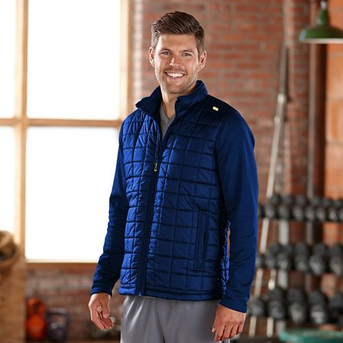 Mens Road Runner Sports Polar Defense Quilted Outerwear Jackets - Midnight Blue L