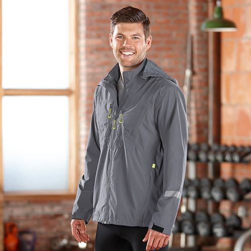 Mens Road Runner Sports Thunderstruck Rain Outerwear Jackets - Steel XL