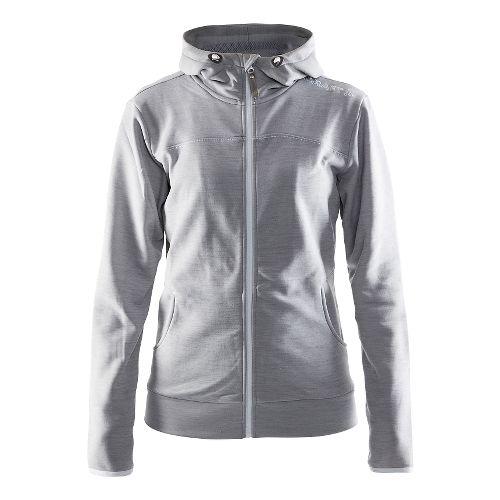 Womens Craft Leisure Full Zip Hood Warm Up Hooded Jackets - Grey Melange L