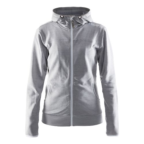 Womens Craft Leisure Full Zip Hood Warm Up Hooded Jackets - Grey Melange XS