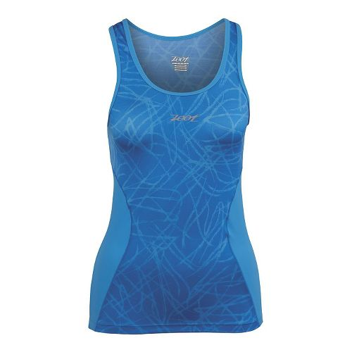 Womens Zoot Performance Tri BYOB Tank Technical Tops - Maliblue Static XL