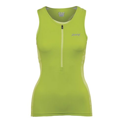 Womens Zoot Performance Tri Tank Sleeveless Technical Tops - Honey Dew Static S
