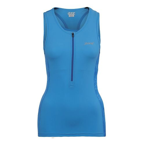 Womens Zoot Performance Tri Tank Sleeveless Technical Tops - Maliblue Static L