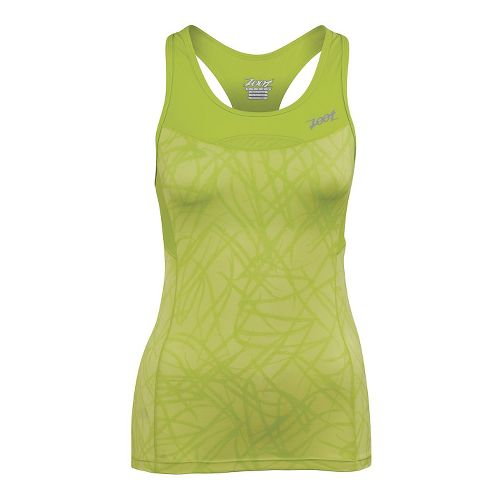 Womens Zoot Performance Tri Racerback Bra Tank Technical Tops - Honey Dew Static S