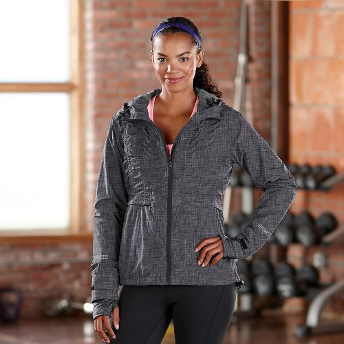 Womens Road Runner Sports Embrace the Storm Rain Outerwear Jackets - Heather Charcoal XL