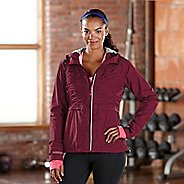 Womens Road Runner Sports Embrace the Storm Rain Outerwear Jackets - Heather Mulberry Madness L