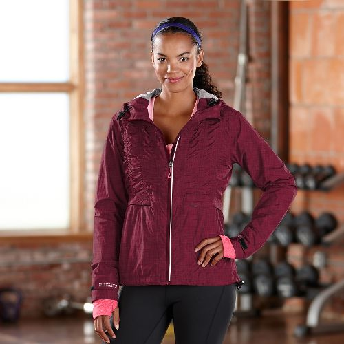 Womens Road Runner Sports Embrace the Storm Rain Outerwear Jackets - Heather Mulberry Madness L ...