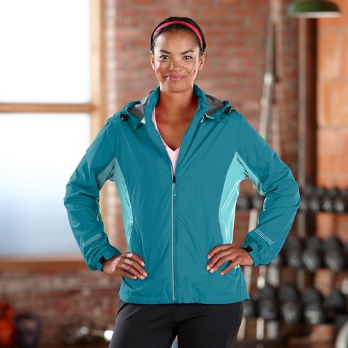 Womens Road Runner Sports Run On Rain Outerwear Jackets - Laguna Blue XS
