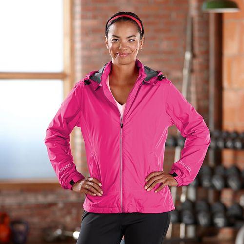 Womens Road Runner Sports Run On Rain Outerwear Jackets - Pink Pop L