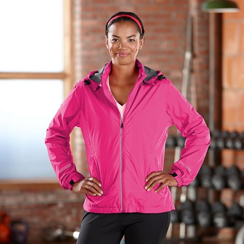 Womens Road Runner Sports Run On Rain Outerwear Jackets - Pink Pop M