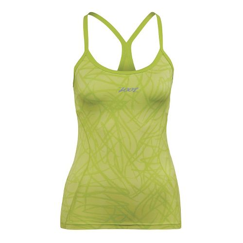 Womens Zoot Performance Tri Cami Bra Tank Technical Tops - Honey Dew Static M