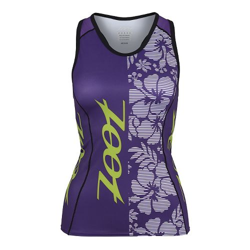 Womens Zoot Performance Tri Team Racerback Bra Tank Technical Tops - Purple Haze/Green S