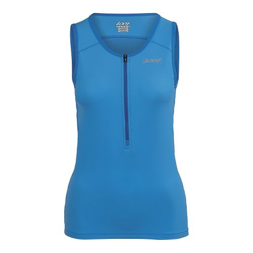 Womens Zoot Active Tri Mesh Tank Sleeveless Technical Tops - Maliblue XXL