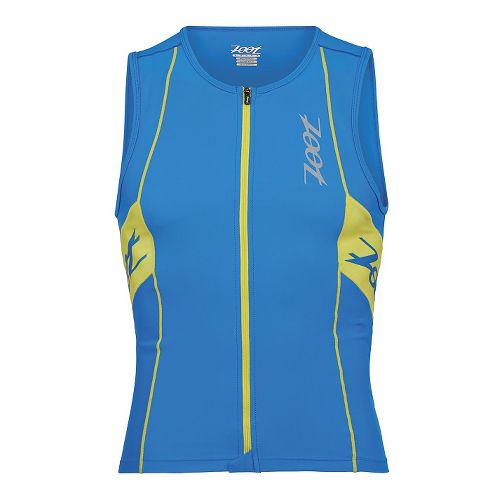 Mens Zoot Performance Tri Full Zip Tank Sleeveless Technical Tops - Zoot Blue/Yellow XS