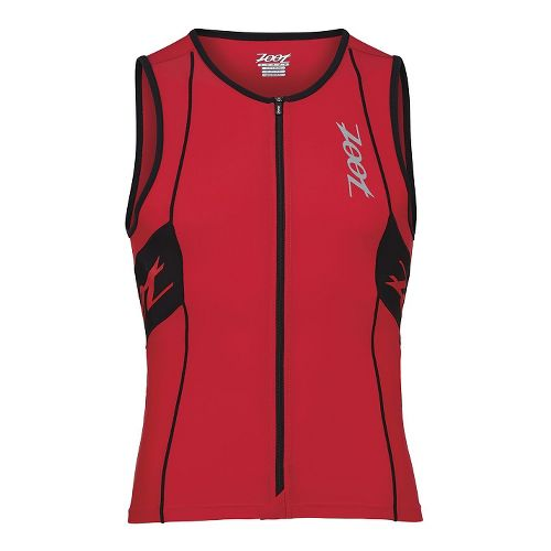 Mens Zoot Performance Tri Full Zip Tank Sleeveless Technical Tops - Zoot Red/Black L