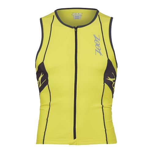 Mens Zoot Performance Tri Full Zip Tank Sleeveless Technical Tops - Yellow/Pewter L