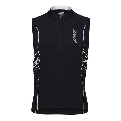 Mens Zoot Performance Tri Jersey Sleeveless Technical Tops - Black/Black XL