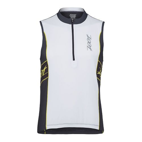 Mens Zoot Performance Tri Jersey Sleeveless Technical Tops - White/Pewter XS